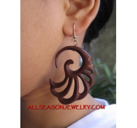 Organics Wood Hand Carved Earring Hook