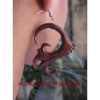 Wood Organic Tribal Earrings Handmade Carving