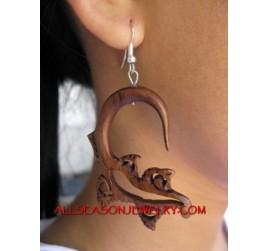Carved Earring Silver Hooks