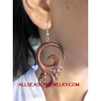 Women Earring Wood Carving Bali