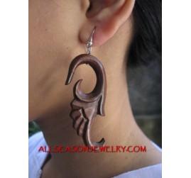 Carve Earring Wood Tribal Handmade Ethnic Design