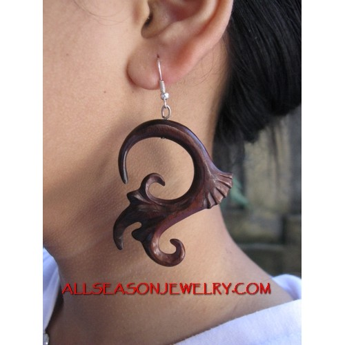 Wooden Carved Earring Hook