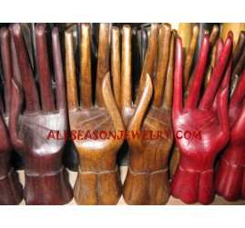 5 Finger Rings Display Wood Hand Style