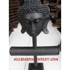 Handmade Wooden Display Bangle Bracelet Earring Buddha Head