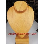 Natural Wood Necklace Displayed Hanging chest
