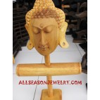 Budha Head Hand Carving Wood Display Natural Bangle Earrings