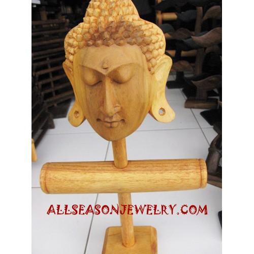 Budha Head Hand Carving Wood Display Natural Bangle Earrings