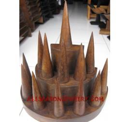 Wood Finger Rings Displayed Jewelry Piramid