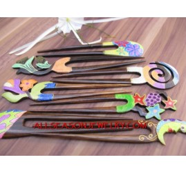 Wooden Hair Stick Painted