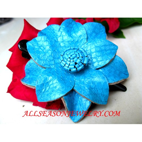 Blue Leather Hairpins