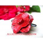 Red Leather Hairpins