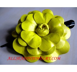 Leather Hair clips yellow