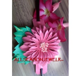 Leather Flower Hair Stick