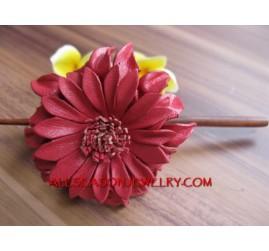 Leather Flower Wooden Stickk
