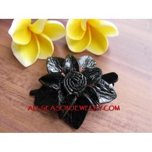 Black Flower Leather Slide