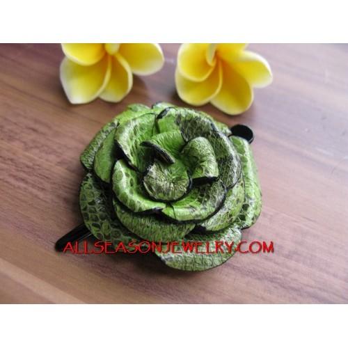 Green Color Hair Slide Flower