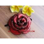 Red Leather Flower Slide