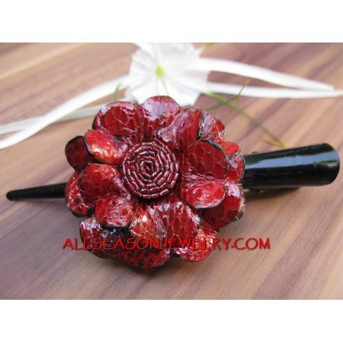 Flower Leather Slide Red