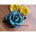 Turquoise Leather Hair slide