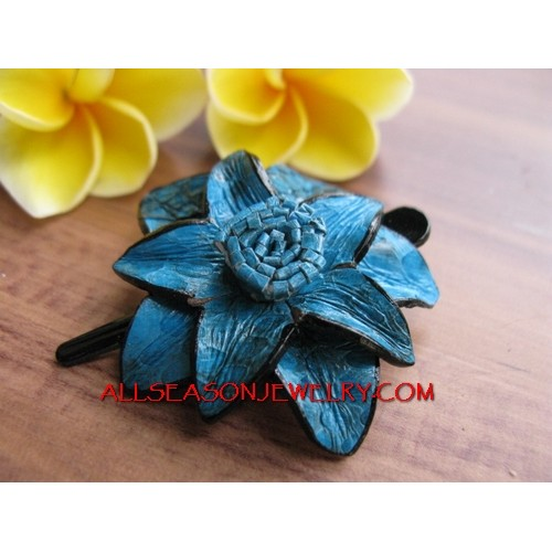 Leather Turquoise Hair Pin