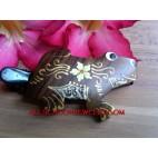 Frog Carving Wood Hair Slide
