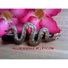 Snake Carved Wood Hair Slide