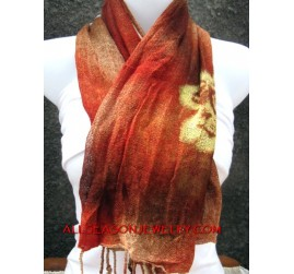 women scarves cotton hand painting flowers
