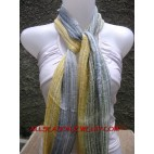 Cotton Mesh Stripe Scarf