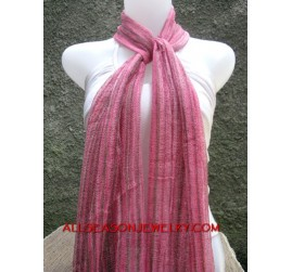 strip line color cotton mesh scarf