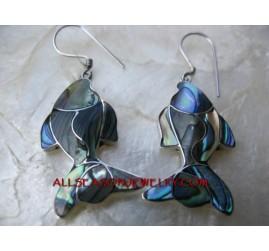 Abalone Silver Earrings