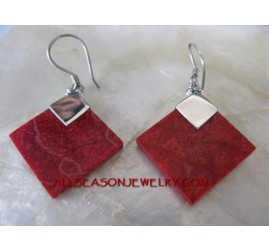 Red Coral Silver Earring