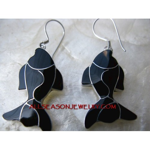Black Fish Silver Earring