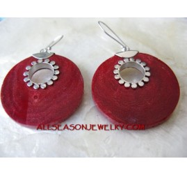 Red Coral Earring Silver