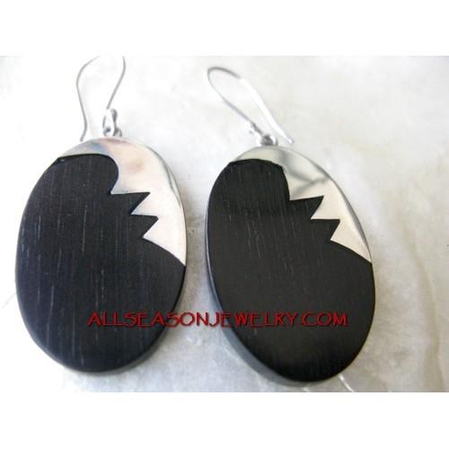 Black Wood Earring Silver