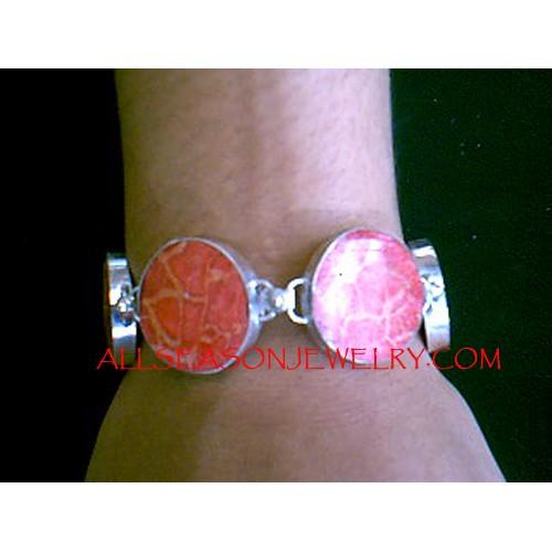 Silver Bracelets Red Coral