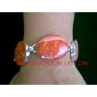 Red Coral Silver Bracelets
