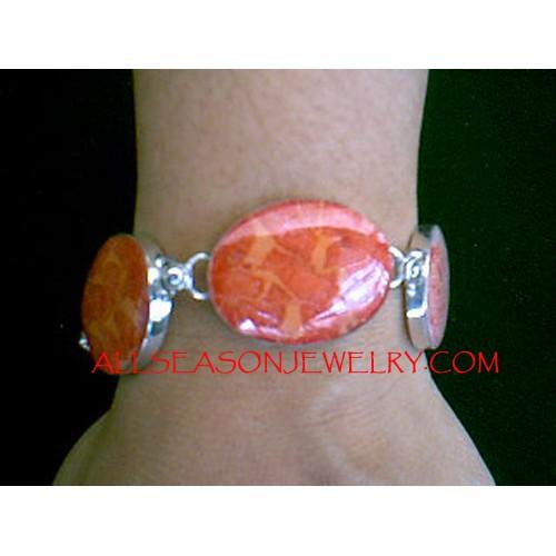 Red Coral Silver Bracelets