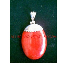 Pendant Necklace Red Coral