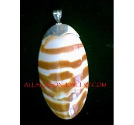 Tiger Shell Silver Pendant