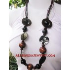 Bali Ethnic Wooden Necklaces with Shells
