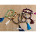 crystal beads bracelet with tassels women fashion accessories 6color