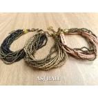 multiple strand beads bracelet charm fashion accessories 3color