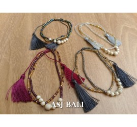 tassel bracelet crystal beads women fashion accessories 4color