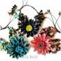 fashion cow leather bracelet sun flower motif with beads stone 3color
