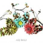sun flower bracelet design genuine cow leather with stone bead 3color
