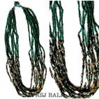 balinese design necklaces multiple strand beads chain steel