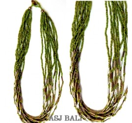beads necklace multiple seeds straw chain steel bali