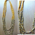 beads necklaces 4strand handmade mono color yellow