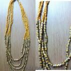 beads necklaces 4strand handmade mono color yellow