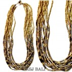 beige beads necklaces multiple strand with pipe steels
